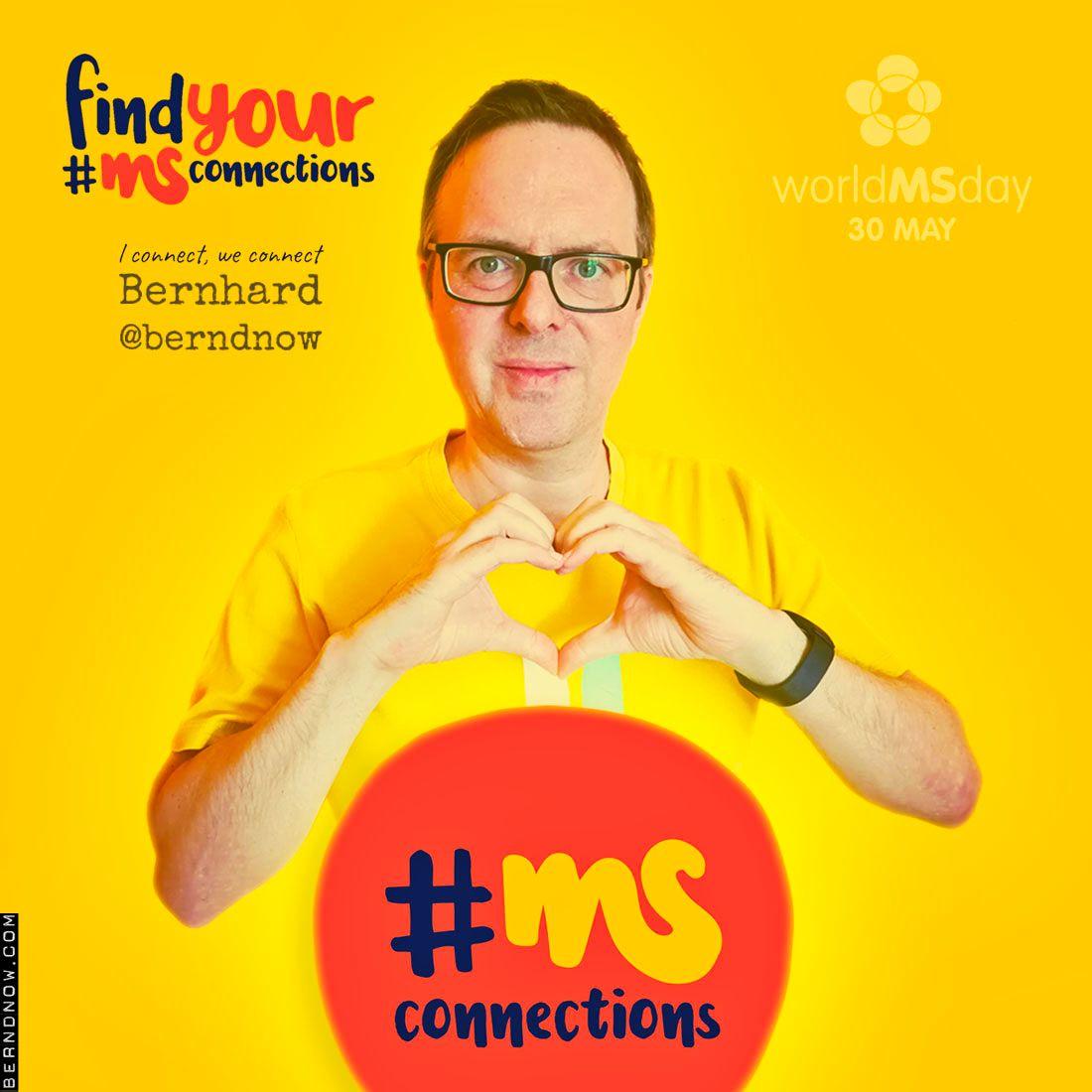 gelbes Rechteck mit Bild von Berhhard Schütz, Ernsthofen, Austria, Text: find your #MSConnections