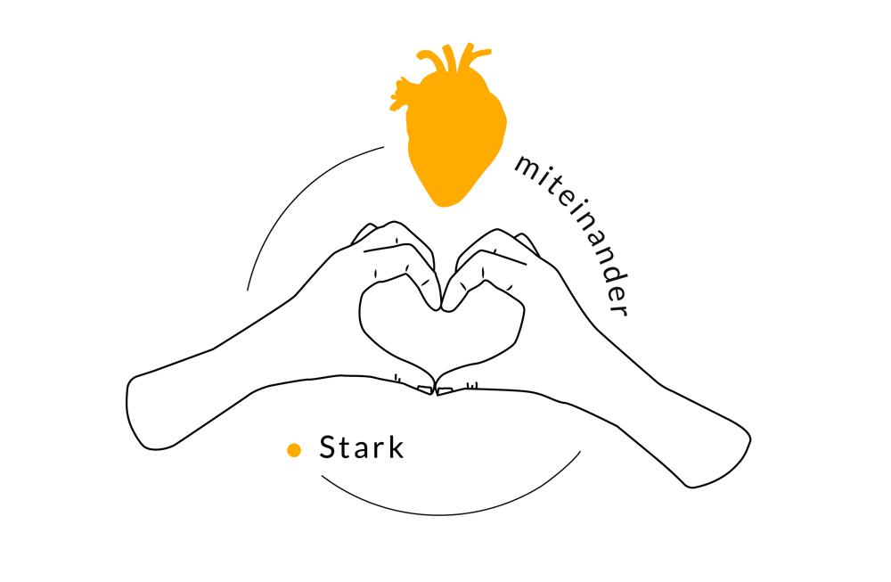Illustration von Katja Putzer: zu einem herz geformte Hände, Schriftzug: Miteinander stark