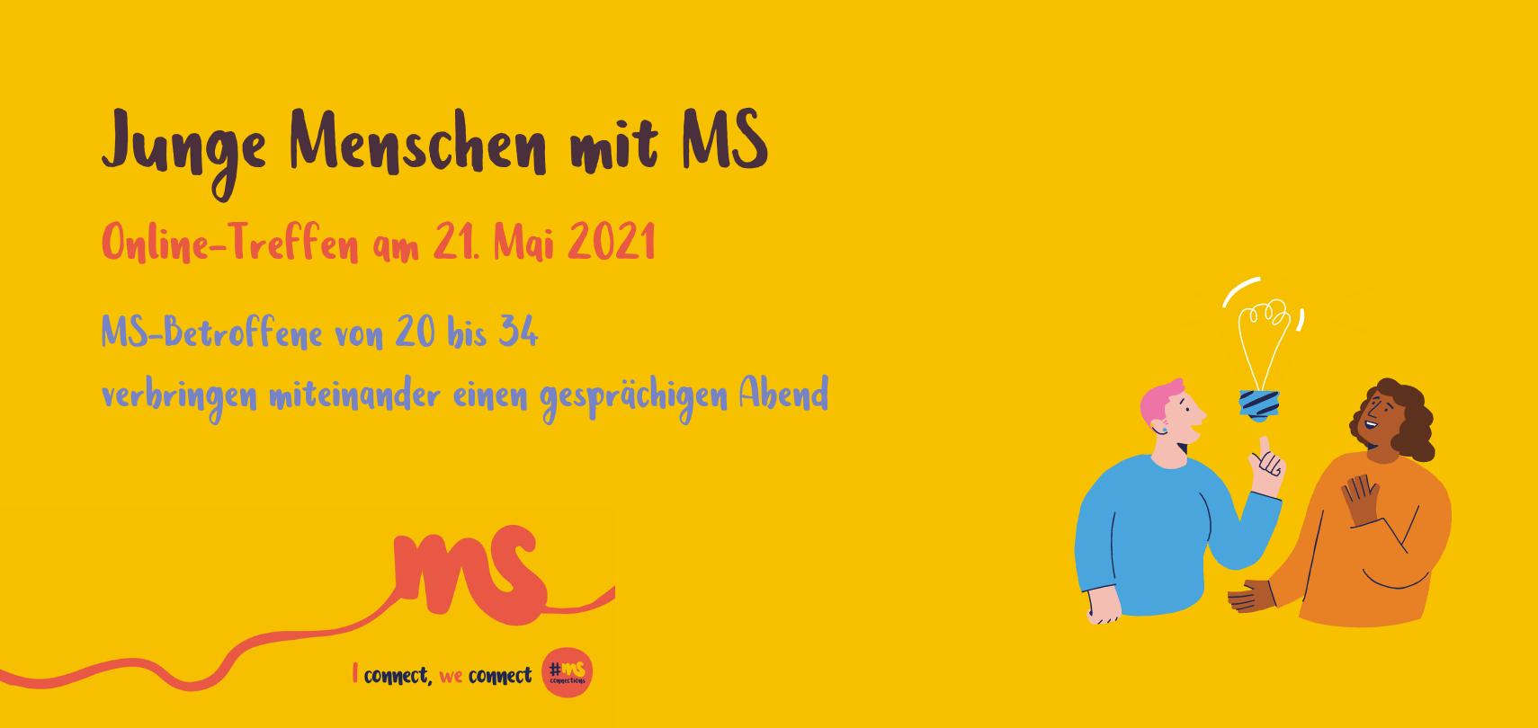 gelber Hintergrund, Text: junge Menschen mit MS. Online-Treffen am 21. Mai 2021