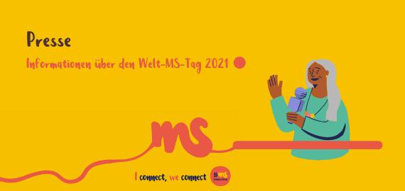 gelbes Rechteck, Frau mit Mikrofon. Text: Presse-Informationen über den Welt-MS-Tag 2021