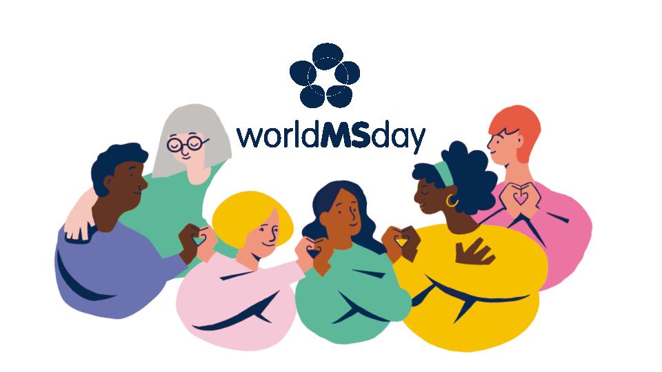 Abbildung div. Illustration von Menschen mit Schriftzug worldMSday