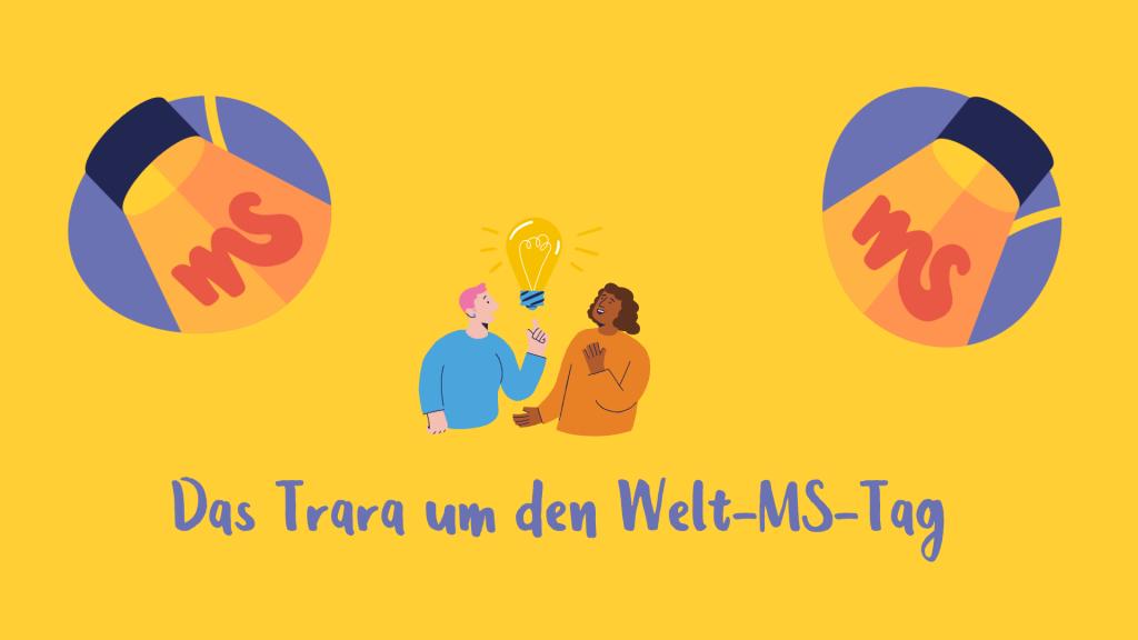 gelber Hintergrund, Illustration: Mann unter Scheinwerferlicht erklärt frau etwas,Text: Das Trara um den Welt-MS-Tag