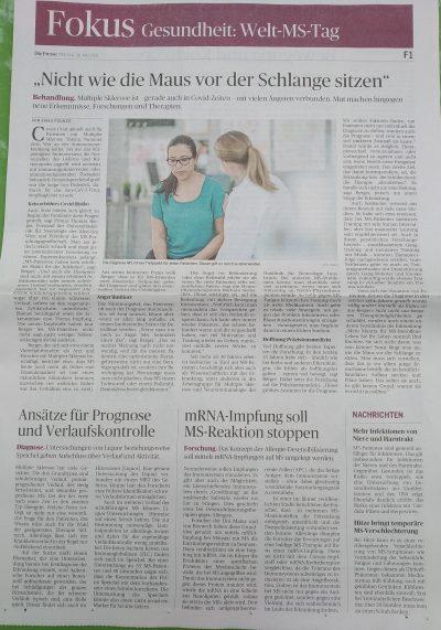 Fokus Welt-MS-Tag, Die Presse, 28. Mai 2021