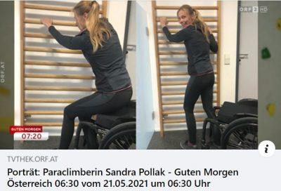 Screenshot ORF: Porträt der von MS betroffenen Paraclimberin Sandra Pollack anlässlich des Welt-MS-Tages in
